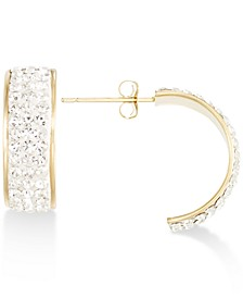 Pavé Crystal Wide Half-Hoop Earrings in 10k Gold