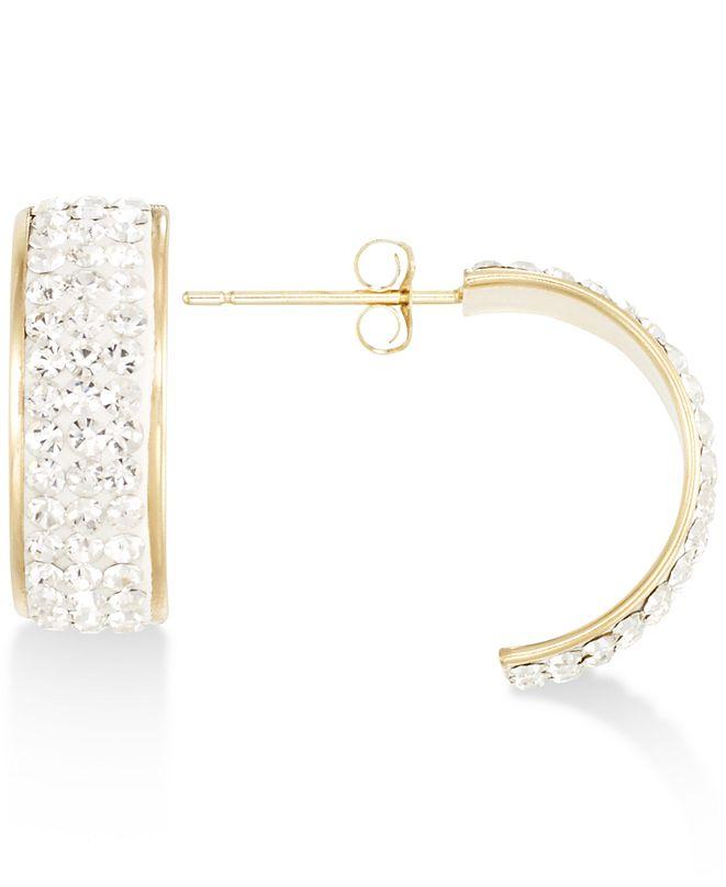 Macy's Pavé Crystal Wide Half-Hoop Earrings in 10k Gold