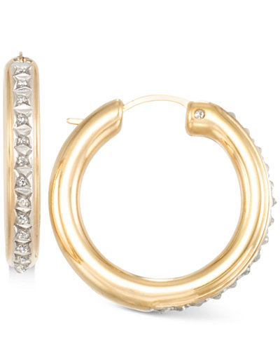Signature Diamonds™ Rounded Hoop Earrings in 14k Gold over Resin Core Diamond and Crystallized Diamond Dust