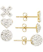 3-Pc. Set Pave Crystal Stud Earrings in 10k Gold