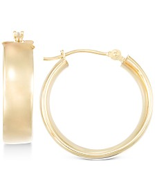 Polished Wide Hoop Earrings in 10k Gold