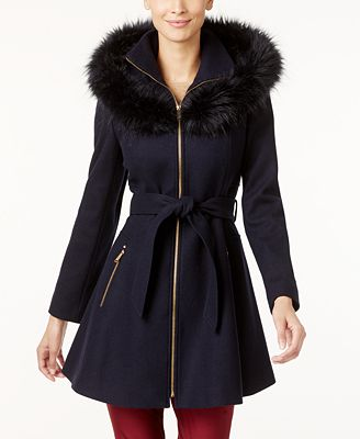 Laundry by Shelli Segal Petite Faux-Fur-Trim Skirted Swing Coat