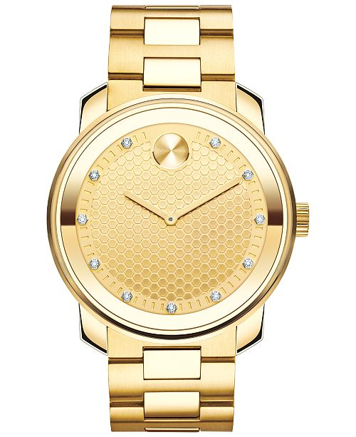 Movado Men's Swiss Bold Diamond (1/10 ct. t.w.) Gold-Tone Ion-Plated Stainless Steel Bracelet Watch 43mm 3600374