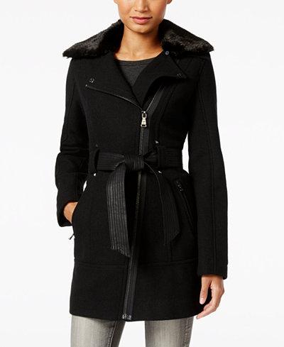 Guess Faux Fur Collar Mixed Media Asymmetrical Coat