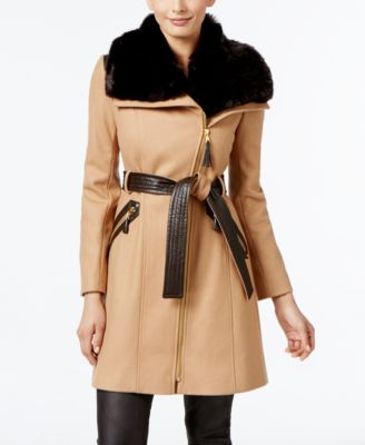 Via spiga black faux fur trim asymmetrical coat