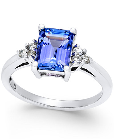 Tanzanite (1-3/4 ct. t.w.) and Diamond (1/8 ct. t.w.) Ring in 14k White Gold