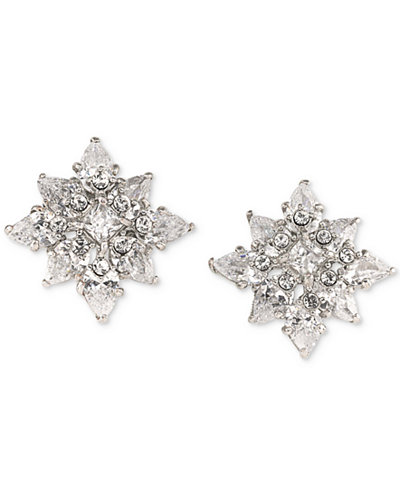 Carolee Silver-Tone Crystal Flower Stud Earrings