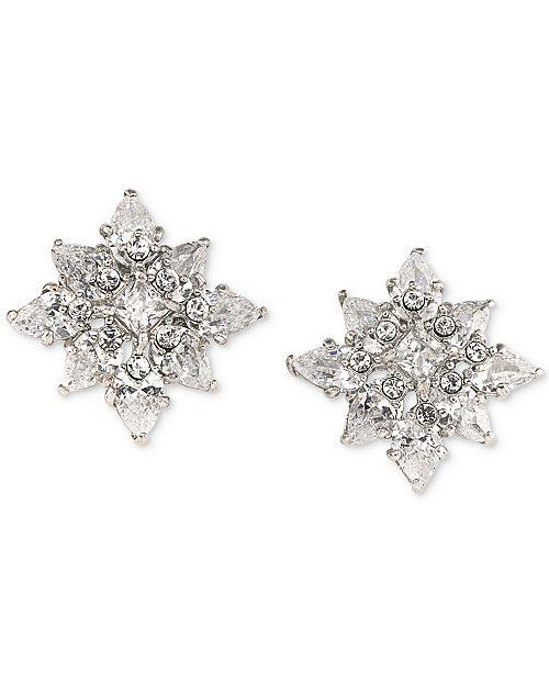 Carolee Silver-Tone Crystal Flower Stud Earrings
