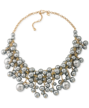 Carolee Gold-Tone Gray Imitation Pearl Cluster Collar Necklace