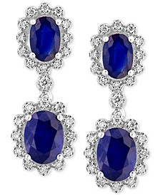 Royale Bleu by EFFY® Sapphire (3 ct. t.w.) and Diamond (1/3 ct. t.w.) Drop Earrings in 14k White Gold