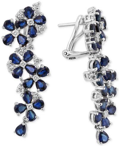 Royal Bleu by EFFY® Sapphire (9 ct. t.w.) and Diamond (3/4 ct. t.w.) Drop Earrings in 14k White Gold, Created for Macy's