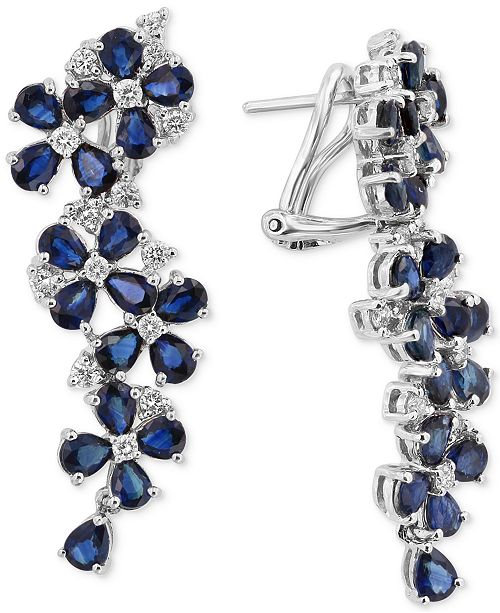 EFFY Collection Royal Bleu by EFFY® Sapphire (9 ct. t.w.) and Diamond (3/4 ct. t.w.) Drop Earrings in 14k White Gold, Created for Macy's