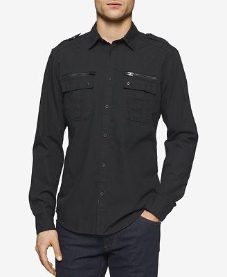 Calvin Klein Jeans Men's Modern Long-Sleeve Military Shirt ...