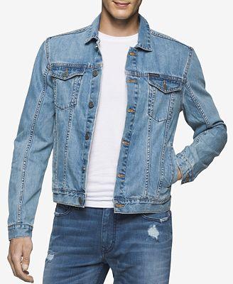 Calvin Klein Jeans Menu0026#39;s Light Wash Denim Trucker Jacket - Coats u0026 Jackets - Men - Macyu0026#39;s