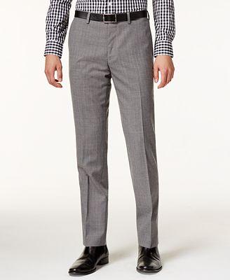 Bar III Men's Slim-Fit Gray Glen Plaid Pants, Created for Macy's ...