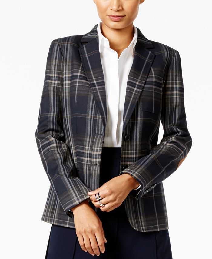 Tommy Hilfiger - Plaid Two-Button Blazer with Elbow Patches