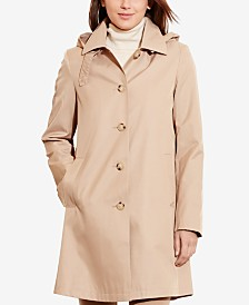 Lauren Ralph Lauren Hooded Single-Breasted A-Line Raincoat, Created for Macy's