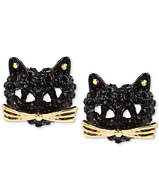 Betsey Johnson Two-Tone Pavé Black Crystal Cat Stud Earrings