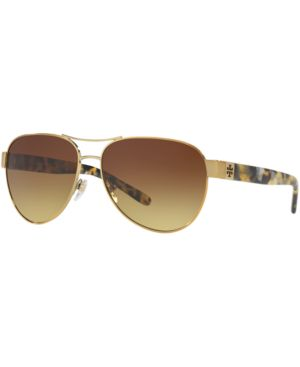TORY BURCH GRADIENT CONTRAST-ARM AVIATOR SUNGLASSES, TORTOISE/GOLD, BROWN