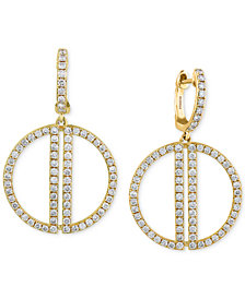 D'Oro by EFFY® Diamond Open Circle Drop Earrings (3/4 ct. t.w.) in 14k Gold