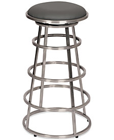"Ringo 30"" Backless Brushed Stainless Steel Barstool in Gray Faux Leather"