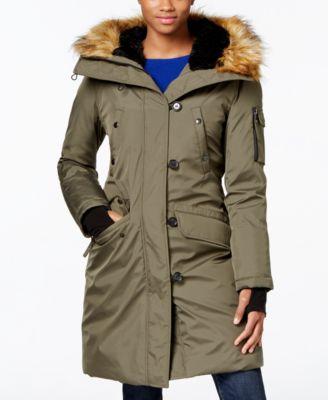 Womens grey parka coats with fur hood