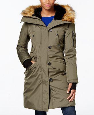 S13 Faux-Fur-Trim Hooded Down Parka - Coats - Women - Macy&39s