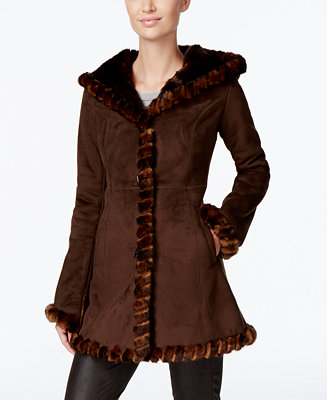 Jones New York Faux Fur Trim Faux Suede Walker Coat