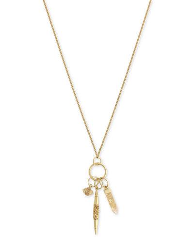Vince Camuto Gold-Tone Long Multi-Charm Pendant Necklace
