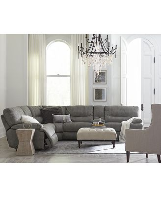 Furniture Closeout Liam 6 Pc Fabric Sectional Sofa With Console And