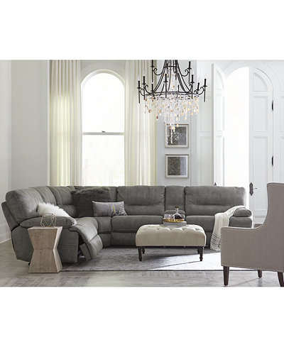 Closeout Liam Fabric Power Reclining Sectional Sofa