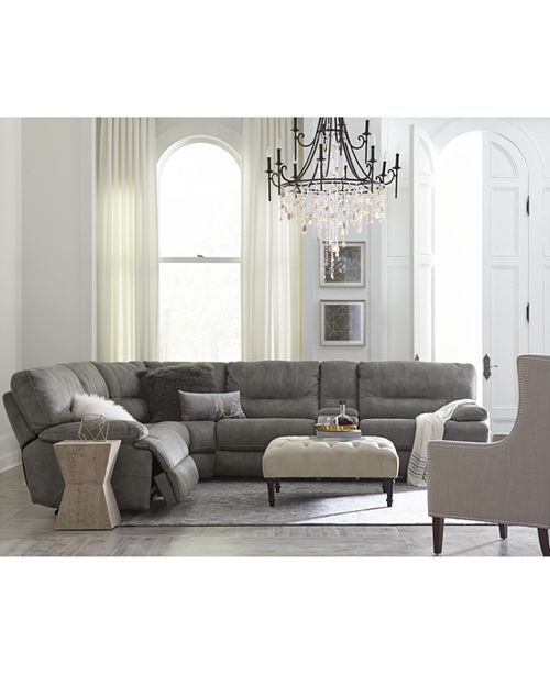 Furniture Closeout Liam Fabric Power Reclining Sectional