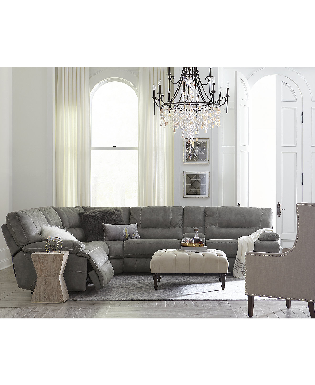 Living Room Furniture Springfield Mo Liam Fabric Power Reclining Sectional Sofa Collection Furniture