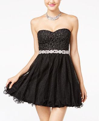 City Studios Juniors Strapless Lace A-Line Dress - Juniors ...