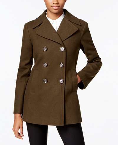 Kenneth Cole Double-Breasted Peacoat, Created for Macy's - Coats ...