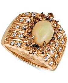 Chocolatier Opal (1-1/5 ct. t.w.) and Diamond (1 ct. t.w.) Statement Ring in 14k Rose Gold, Created for Macy's