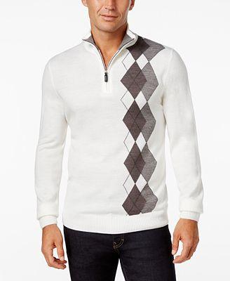 Tricots St. Raphael Men's Argyle Quarter-Zip Mock-Collar Sweater