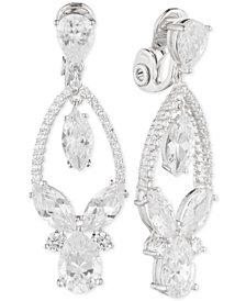 Anne Klein Multi-Crystal and Pavé Orbital Drop E-Z Comfort Clip-On Earrings