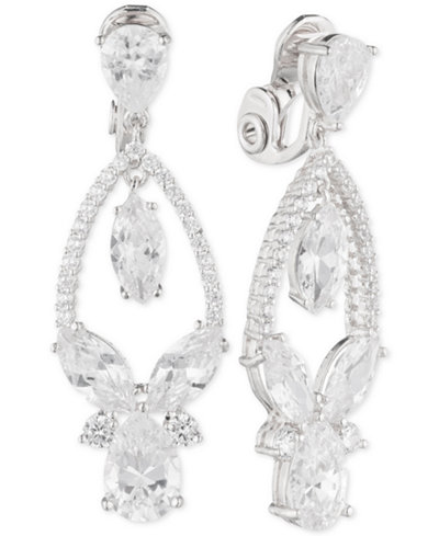 Anne Klein Multi-Crystal and Pavé Orbital Drop Clip-On Earrings