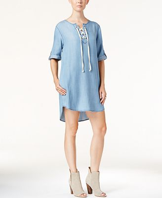 Velvet Heart Senna Denim Lace-Up Dress