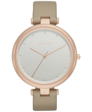 Skagen WOMEN'S TANJA TAN LEATHER STRAP WATCH 38MM SKW2484