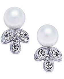Silver-Tone Imitation Pearl and Crystal Stud Earrings, Created for Macy's