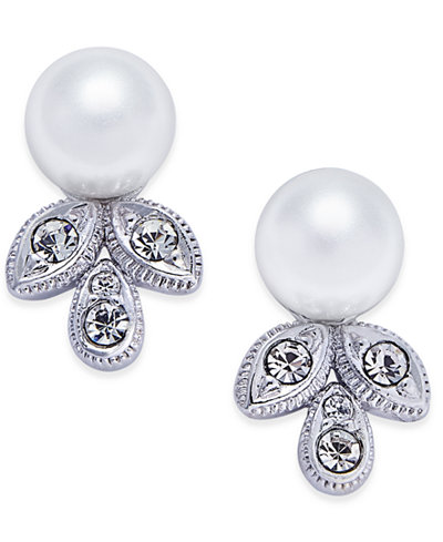 Danori Silver-Tone Imitation Pearl and Crystal Stud Earrings, Created for Macy's