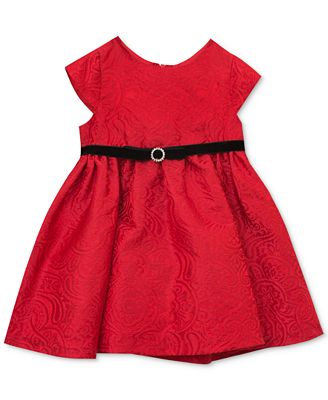 Rare Editions Baby Girls Red Brocade Party Dress