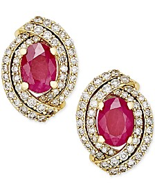 Ruby (2 ct. t.w.) and Diamond (5/8 ct. t.w.) Stud Earrings in 14k White Gold (Also Available in Emerald & Sapphire)