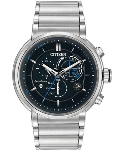 Citizen Men's Chronograph Proximity Stainless Steel Bracelet Smartwatch 46mm BZ1000-54E