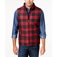 Weatherproof Vintage Mens Plaid Puffer Vest (Red Buffalo)