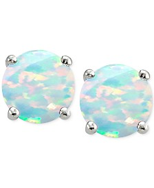 Giani Bernini Cubic Zirconia Synthetic Opal Stud Earrings in Sterling Silver, Created for Macy's