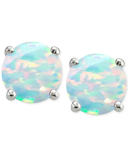 Cubic Zirconia Synthetic Opal Stud Earrings In Sterling Silver Created For Macy S