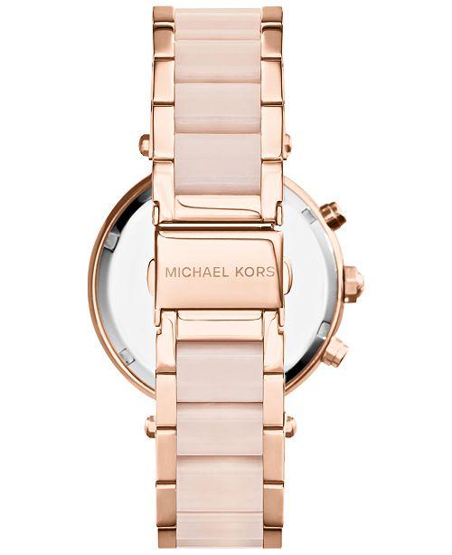 74c29d39e409 ... Michael Kors Women s Chronograph Parker Blush and Rose Gold-Tone  Stainless Steel Bracelet Watch 39mm ...